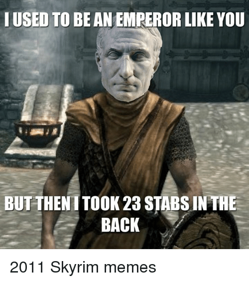 Skyrim Meme: I USED TO BEAN EMPEROR LIKE YOU  BUT THEN TTOOK 23 STABSIN THE  BACK 2011 Skyrim memes