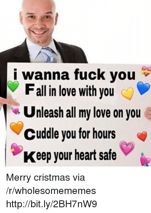unleash: i wanna fuck you  Fall in love with you  Unleash all my love on you  Cuddle you for hours  Keep your heart safe Merry cristmas via /r/wholesomememes http://bit.ly/2BH7nW9