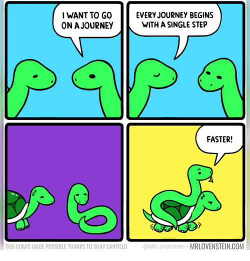 shay: I WANT TO GO  ON A JOURNEY  EVERY JOURNEY BEGINS  WITH A SINGLE STEP  FASTER!  THIS COMIC MADE POSSIBLE THANKS TO SHAY CANFIELD @MrLovenstein MRLOVENSTEIN.COM