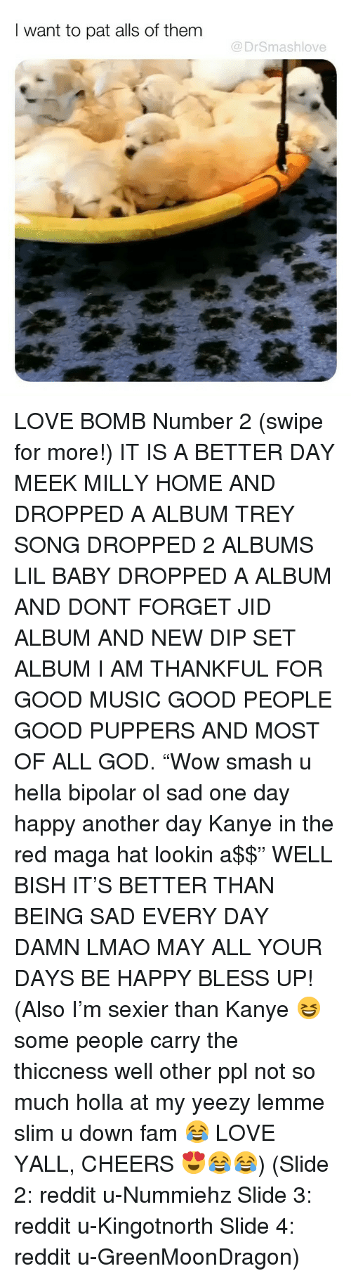 "Bless Up, Fam, and God: I want to pat alls of them  @DrSmashlove LOVE BOMB Number 2 (swipe for more!) IT IS A BETTER DAY MEEK MILLY HOME AND DROPPED A ALBUM TREY SONG DROPPED 2 ALBUMS LIL BABY DROPPED A ALBUM AND DONT FORGET JID ALBUM AND NEW DIP SET ALBUM I AM THANKFUL FOR GOOD MUSIC GOOD PEOPLE GOOD PUPPERS AND MOST OF ALL GOD. ""Wow smash u hella bipolar ol sad one day happy another day Kanye in the red maga hat lookin a$$"" WELL BISH IT'S BETTER THAN BEING SAD EVERY DAY DAMN LMAO MAY ALL YOUR DAYS BE HAPPY BLESS UP! (Also I'm sexier than Kanye 😆 some people carry the thiccness well other ppl not so much holla at my yeezy lemme slim u down fam 😂 LOVE YALL, CHEERS 😍😂😂) (Slide 2: reddit u-Nummiehz Slide 3: reddit u-Kingotnorth Slide 4: reddit u-GreenMoonDragon)"