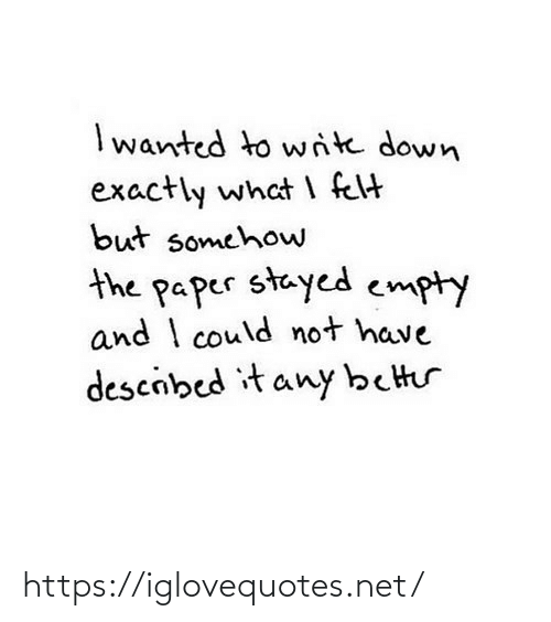 empty: I wanted to write down  exactly what I felt  but somehow  the paper stayed empty  and I could not have  descibed it any better https://iglovequotes.net/