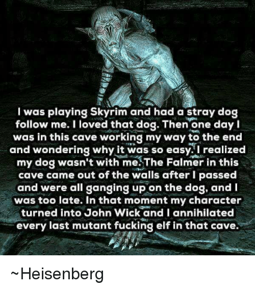 Heisenberger: I was playing Skyrim and had a stray dog  follow me. I loved that dog. Then one day I  was in this cave working my way to the end  and wondering why it was so easy. I realized  my dog wasn't with me.The Falmer in this  cave came out of the walls after I passed  and were all ganging up on the dog, and  was too late. In that moment my character  turned into John Wick and I annihilated  every last mutant fucking elf in that cave ~Heisenberg