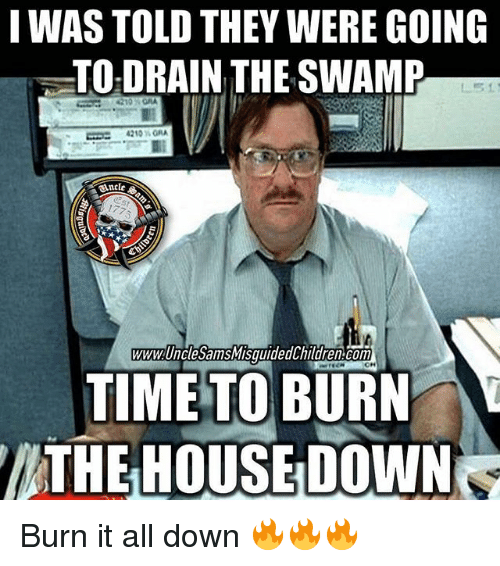 Conne: I WAS TOLD THEY WERE GOING  TO DRAIN THE SWAMP  4210 MORA  WWW UnclesamSMISquided hildren Conn  TIME TO BURN  THE HOUSE DOWN Burn it all down 🔥🔥🔥