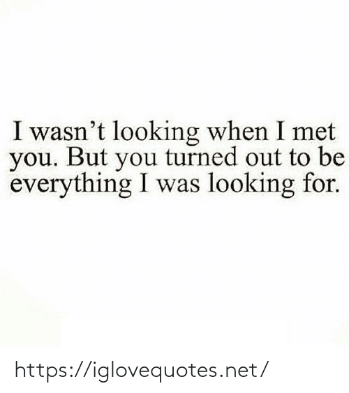Turned: I wasn't looking when I met  you. But you turned out to be  everything I was looking for. https://iglovequotes.net/