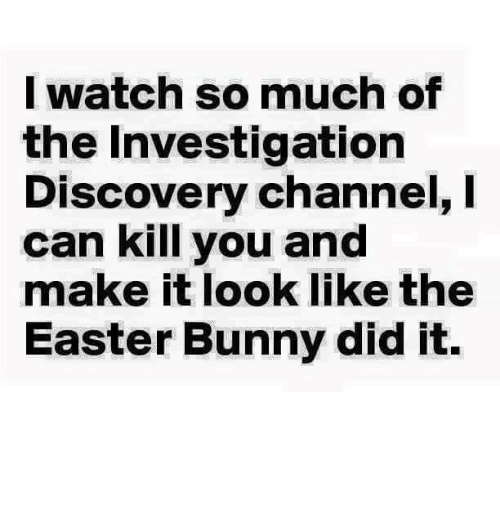discovery channel: I watch so much of  the Investigation  Discovery channel, I  can kill you and  make it look like the  Easter Bunny did it.