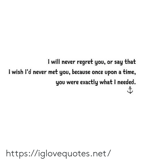 Regret, Once Upon a Time, and Time: I will never regret you, or say that  l wish l'd never met you, because once upon a time,  you were exactly what I needed https://iglovequotes.net/