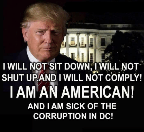 Memes, American, and Sick: I WILL NOT SIT DOWN, I WILL NOT  SHUT UPANDI WILL NOT COMPLY!  |AM AN AMERICAN!  AND I AM SICK OF THEE  CORRUPTION IN DC!
