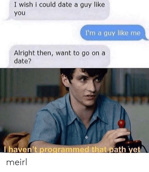 Date, MeIRL, and Alright: I wish i could date a guy like  you  I'm a guy like me  Alright then, want to go on a  date?  Thaven't programmed that path yet meirl