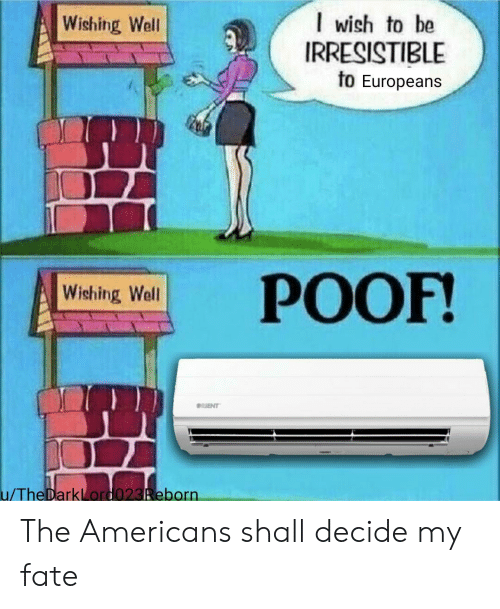 the americans: I wish to be  IRRESISTIBLE  to Europeans  Wishing Well  РОOF!  Wishing Well  RIENT  u/TheDarkLord023Reborn The Americans shall decide my fate