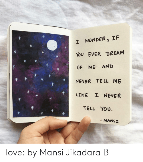 me never: *  I WONDER, IF  EVER DREAM  You  OF ME AND  TE LL ME  NEVER  I NEVER  LIKE  TELL YOU  - MANSI love:  by Mansi Jikadara B