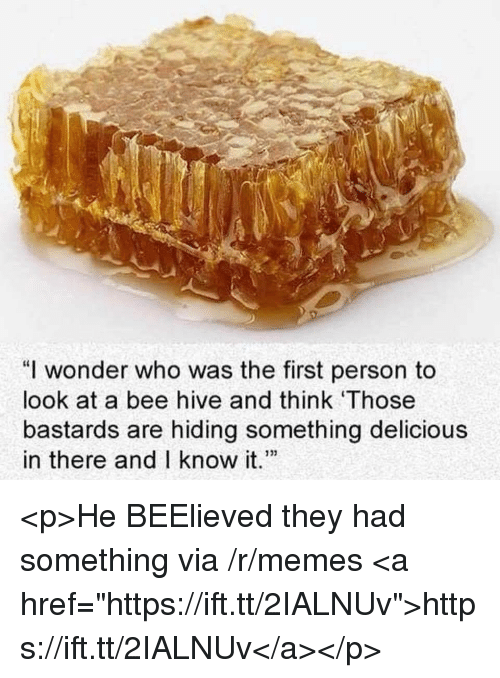 """Memes, Wonder, and Hive: """"I wonder who was the first person to  look at a bee hive and think Those  bastards are hiding something delicious  in there and I know it."""" <p>He BEElieved they had something via /r/memes <a href=""""https://ift.tt/2IALNUv"""">https://ift.tt/2IALNUv</a></p>"""