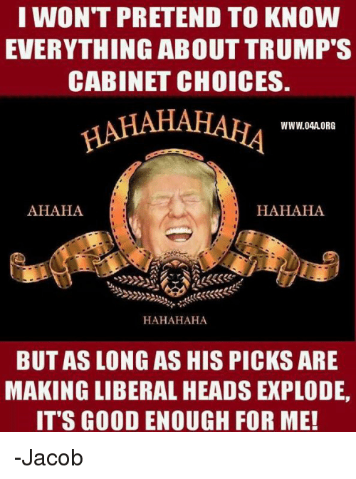 Memes, 🤖, and Pretenders: I WON'T PRETEND TO KNOW  EVERYTHING ABOUT TRUMP'S  CABINET CHOICES.  WWW.O4A ORG  AHAHA  HAHAHA  HAHAHAHA  BUT AS LONG AS HIS PICKS ARE  MAKING LIBERAL HEADS EXPLODE,  ITS GOOD ENOUGH FOR ME! -Jacob