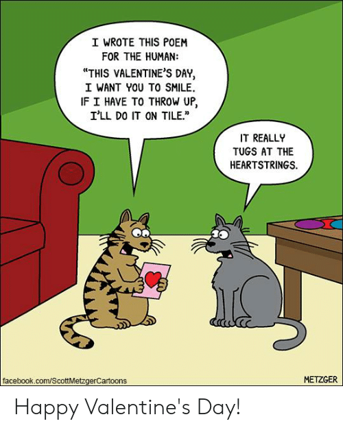 "happy valentines: I WROTE THIS POEM  FOR THE HUMAN:  ""THIS VALENTINE'S DAY,  I WANT YOU TO SMILE.  IF I HAVE TO THROW UP,  I'LL DO IT ON TILE.  IT REALL  TUGS AT THE  HEARTSTRINGS.  facebook.com/ScottMetzgerCartoons  METZGER Happy Valentine's Day!"