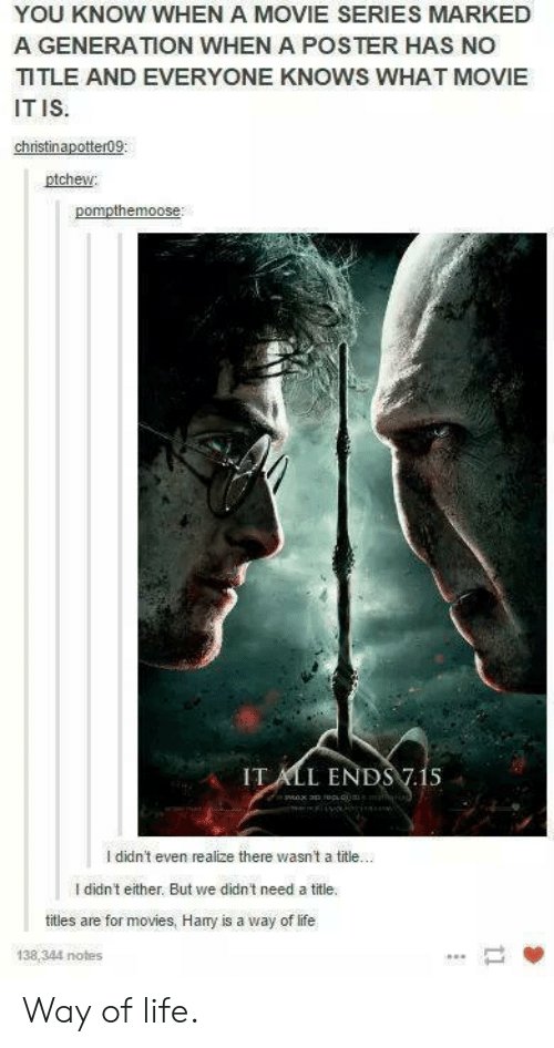 Harry Potter, Life, and Movies: I  YOU KNOW WHEN A MOVIE SERIES MARKED  A GENERATION WHEN A POSTER HAS NO  TLE AND EVERYONE KNOWS WHAT MOVIE  IT IS  ptchew  IT ALL ENDS 7.1S  didn't even realize there wasnt a title.  I didn't either. But we didn't need a title.  titles are for movies, Hay is a way of life  138,344 notes Way of life.