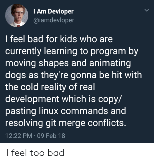 iam: IAm Devloper  @iamdevloper  I feel bad for kids who are  currently learning to program by  moving shapes and animating  dogs as they're gonna be hit with  the cold reality of real  development which is copy/  pasting linux commands and  resolving git merge conflicts.  12:22 PM 09 Feb 18 I feel too bad