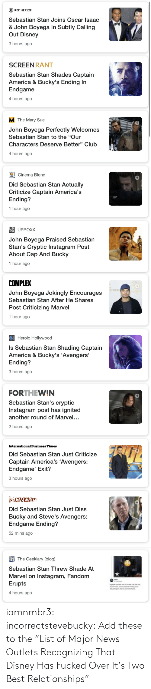 "Relationships: iamnmbr3:  incorrectstevebucky: Add these to the ""List of Major News Outlets Recognizing That Disney Has Fucked Over It's Two Best Relationships"""