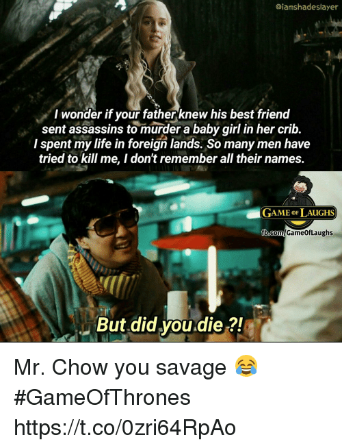Murderize: @iamshadeslayer  I wonder if your fatherknew his best frienod  sent assassins to murder a baby girl in her crib.  I spent my life in foreign lands. So many men have  tried to kill me, I don't remember all their names.  GAME oF LAUGHS  But did you.die ?! Mr. Chow you savage 😂 #GameOfThrones https://t.co/0zri64RpAo