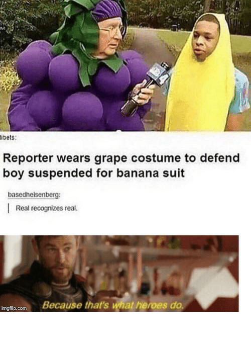 Banana, Heroes, and Boy: ibets:  Reporter wears grape costume to defend  boy suspended for banana suit  basedhelsenberg  Real recognizes real.  Because that's what heroes do  imgflip.com carefully he's a hero