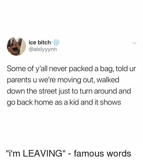 """Bitch, Parents, and Home: ice bitch  @aislyyynn  Some of y'all never packed a bag, told ur  parents u we're moving out, walked  down the street just to turn around and  go back home as a kid and it shows """"i'm LEAVING"""" - famous words"""