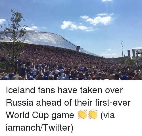 Taken, Twitter, and World Cup: Iceland fans have taken over Russia ahead of their first-ever World Cup game 👏👏 (via iamanch/Twitter)