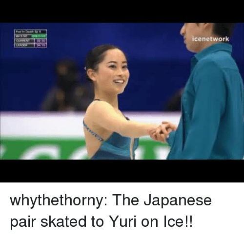 Target, Tumblr, and Blog: icenetwork whythethorny:  The Japanese pair skated to Yuri on Ice!!