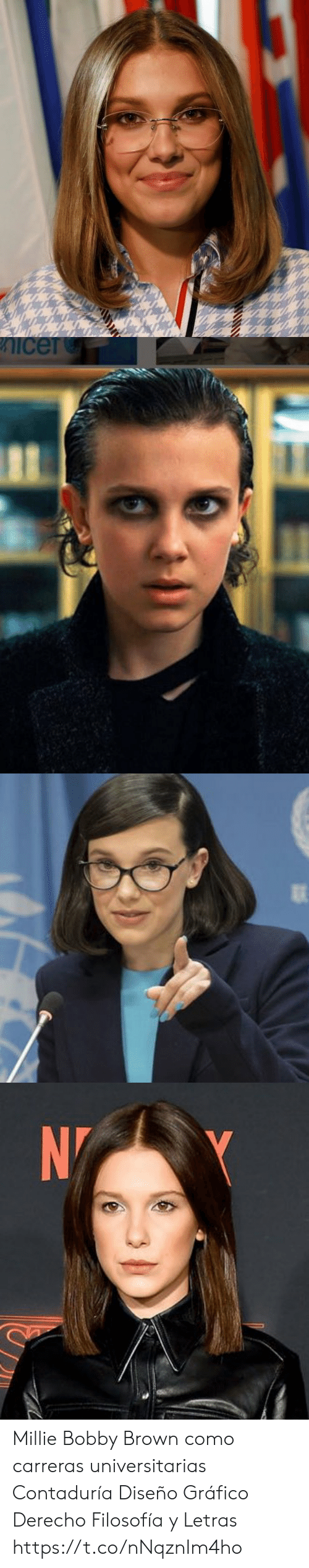 International: icer   N Millie Bobby Brown como carreras universitarias  Contaduría Diseño Gráfico Derecho  Filosofía y Letras https://t.co/nNqznIm4ho