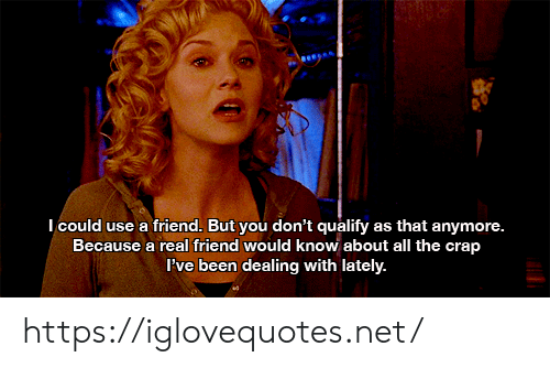 All The, Been, and Net: Icould use a friend. But you don't qualify as that anymore.  Because a real friend would know about all the crap  Pve been dealing with lately. https://iglovequotes.net/