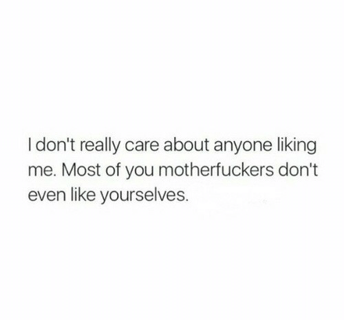 yourselves: Idon't really care about anyone liking  me. Most of you motherfuckers don't  even like yourselves.