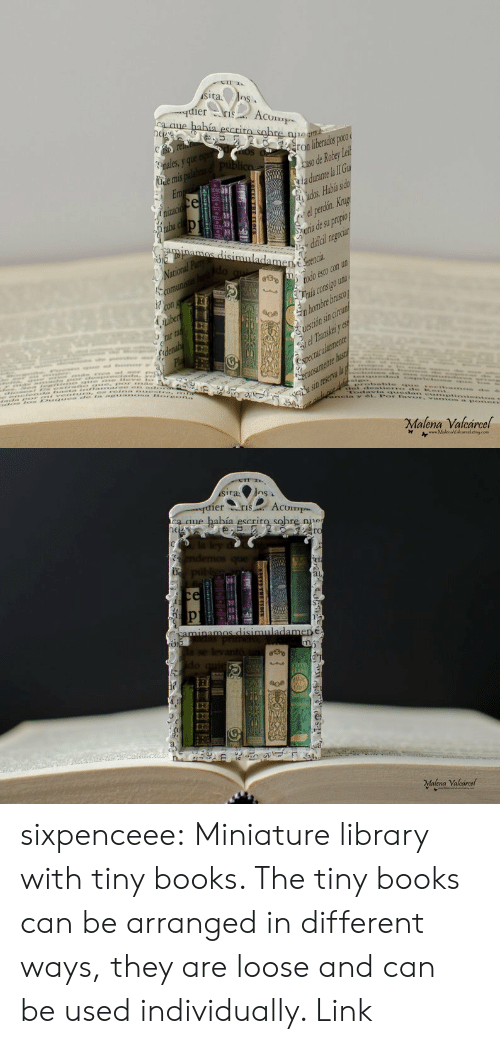 lei: ier  Acum  ron liberados poco  so de Robey Lei  adurane l lI  ora de su propio  dificai  ..laia consigo una  Malena Valcarcel   a aue había escrit  ne  rc  ri  ai,  aoe  Malena Valcarcel sixpenceee:  Miniature library with tiny books. The tiny books can be arranged in different ways, they are loose and can be used individually. Link