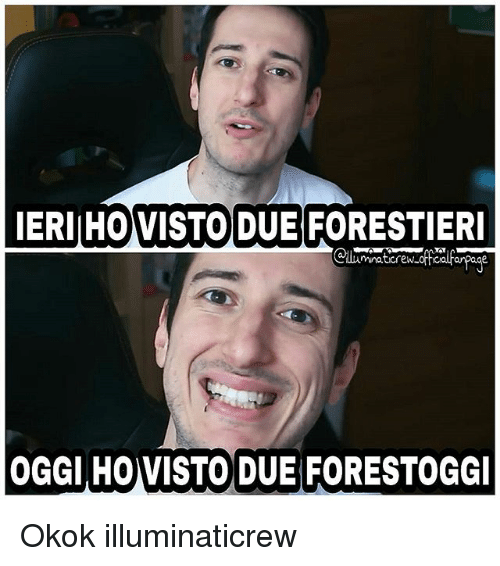 Memes, 🤖, and Oggy: IERIHO VISTO DUE FORESTIERI  mnaticrew.  OGGI HOVISTO DUE FORESTOGGI Okok illuminaticrew