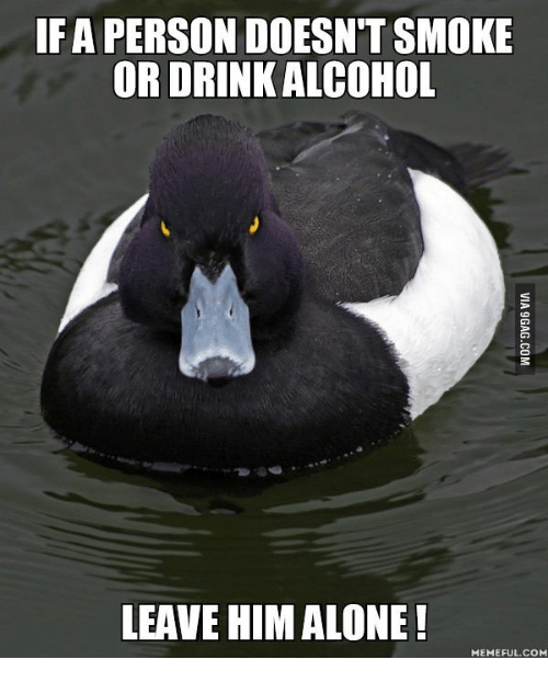 Alone Meme: IF A PERSON DOESN'T SMOKE  OR DRINK ALCOHOL  LEAVE HIM ALONE!  MEME FUL.COM