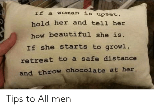 A Woman: If a woman is upset,  hold her and tell her  how beautiful she is.  If she starts to growl,  retreat to a safe distance  and throw chocolate at her. Tips to All men