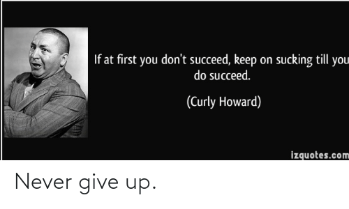 give up: If at first you don't succeed, keep on sucking till you  do succeed.  (Curly Howard)  izquotes.com Never give up.