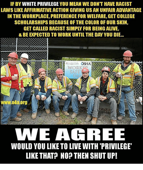osha: IF BY WHITE PRIVILEGE YOU MEAN WE DONT HAVE RACIST  LAWSLIKE AFFIRMATIVE ACTION GIVING US AN UNFAIRADVANTAGE  IN THE WORKPLACE, PREFERENCE FOR WELFARE, GET COLLEGE  SCHOLARSHIPS BECAUSE OF THE COLOR OFOUR SKIN,  OSHA  WORK  W.04a.org  WE AGREE  WOULD YOU LIKE TO LIVEWITH PRIVILEGE  LIKE THAT? NO THEN SHUT UP!