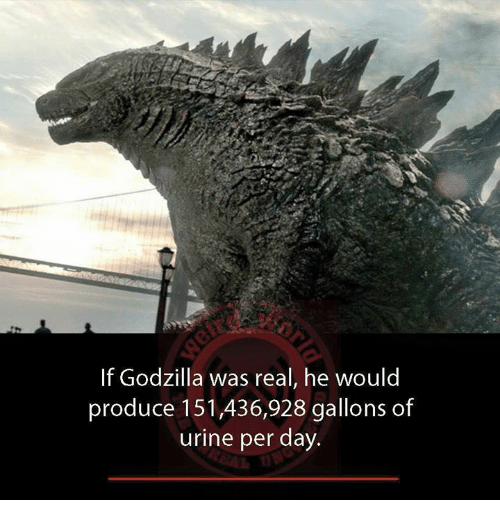 if godzilla was real he would produce 151 436 928 gallons of 26744671 if godzilla was real he would produce 151436928 gallons of urine per