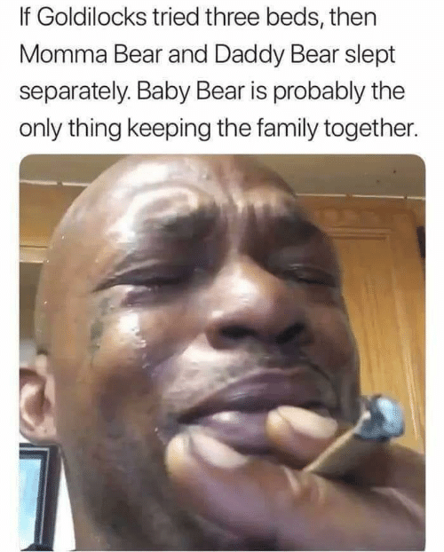 Family, Bear, and Baby: If Goldilocks tried three beds, then  Momma Bear and Daddy Bear slept  separately. Baby Bear is probably the  only thing keeping the family together.