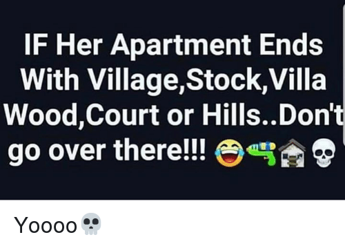 Hood, Her, and Villa: IF Her Apartment Ends  With Village,Stock,Villa  Wood,Court or Hills..Don't  go over there!! e  雪D Yoooo💀
