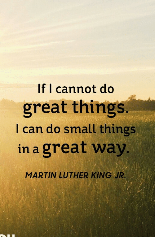 luther: If I cannot do  great things.  I can do small things  in a great way  MARTIN LUTHER KING JR