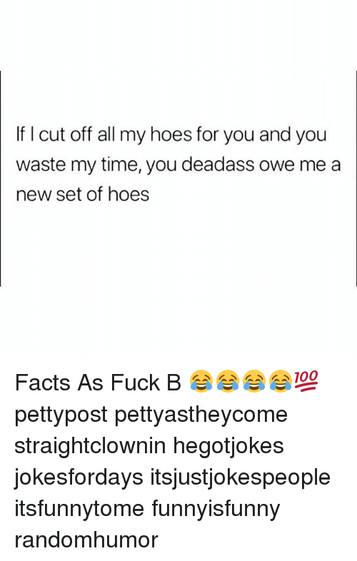 My Hoes: If I cut off all my hoes for you and you  waste my time, you deadass owe me a  new set of hoes Facts As Fuck B 😂😂😂😂💯 pettypost pettyastheycome straightclownin hegotjokes jokesfordays itsjustjokespeople itsfunnytome funnyisfunny randomhumor