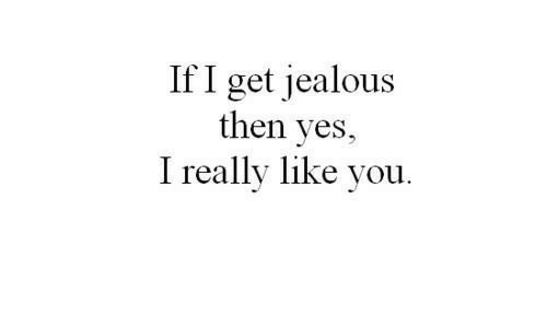 Jealous, Yes, and You: If I get jealous  then yes,  I really like you.