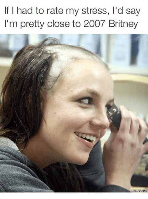 Britney, Britney-Meme, and Brittany Spears Shaving Her Head: If I had to rate my stress, l'd say  I'm pretty close to 2007 Britney  Memes Com