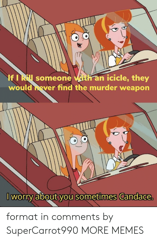 Dank, Memes, and Target: If I Rl someone with an icicle, they  would hever find the murder weapon  worry about you sometimes Candace. format in comments by SuperCarrot990 MORE MEMES