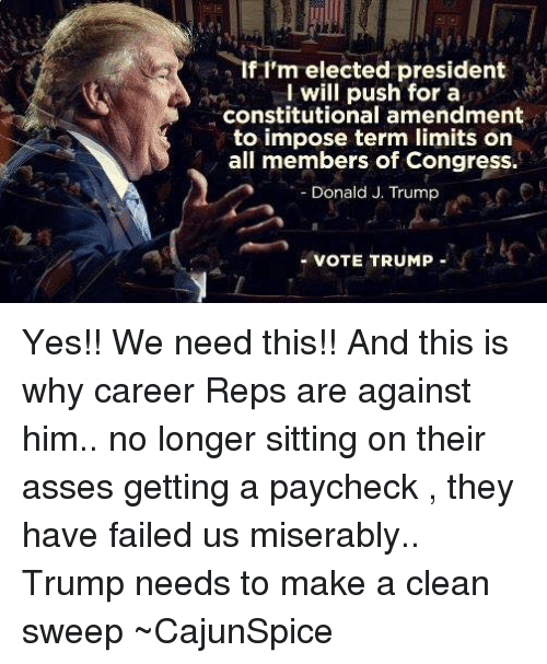 Trump Vote: If I'm elected president  I will push for a  constitutional amendment  to impose term limits on  all members of Congress.  Donald J. Trump  VOTE TRUMP Yes!! We need this!! And this is why career Reps are against him.. no longer sitting on their asses getting a paycheck , they have failed us miserably.. Trump needs to make a clean sweep ~CajunSpice