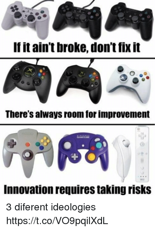 Innovation, For, and Broke: If it ain't broke, don't fix it  There's always room for improvement  Innovation requires taking risks 3 diferent ideologies https://t.co/VO9pqilXdL