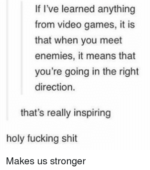 holy fucking shit: If I've learned anything  from video games, it is  that when you meet  enemies, it means that  you're going in the right  direction.  that's really inspiring  holy fucking shit Makes us stronger