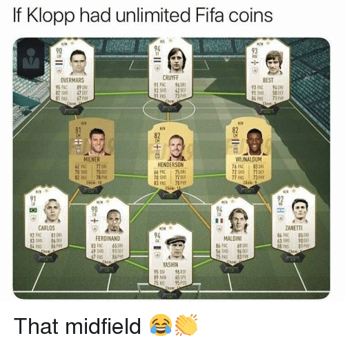 Fifa, Memes, and Best: If Klopp had unlimited Fifa coins  90  94  93  CRUYFF  BEST  3 PAC 940  OVERMARS  2 580 470  81AS 67  1 PAC 948  92 SH0 42  1 PAS 3H  ¾PAS 711  81  82  CM  MILNER  2 PC 77  70 so 75%  82 PAS 78 PY  WIUNALDUM  HENDERSON  PAC 758  70 SHO 77 DE  83 PAS 78PH  6PAC83 08  7290 | 710EF  7 PAS 73PHt  91  90  94  CARLOS  ANETTI  2PAC 81  83O 86  FERDINAND  94  MALDINI  83PAC 65  3 90  8PAS 81  PAS 86PRY  SHO 910  AS 86PH  YASHIN  950Ⅳ 96REF  89HAN 65SPE  S C95P That midfield 😂👏