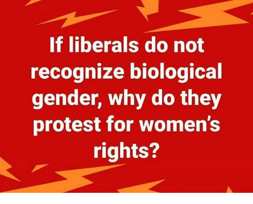 Memes, Protest, and 🤖: If liberals do not  recognize biological  gender, why do they  protest for women's  rights?