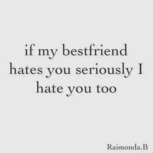 My Bestfriend: if my bestfriend  hates you seriously I  hate vou too  Raimonda.B