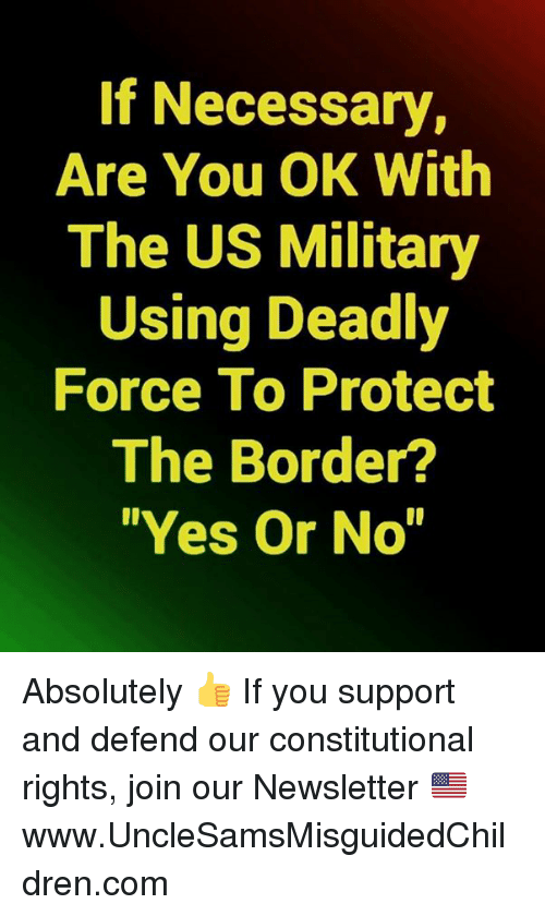 "us military: If Necessary,  Are You OK With  The US Military  Using Deadly  Force To Protect  The Border?  ""Yes Or No"" Absolutely   👍 If you support and defend our constitutional rights, join our Newsletter 🇺🇸 ➤ www.UncleSamsMisguidedChildren.com"