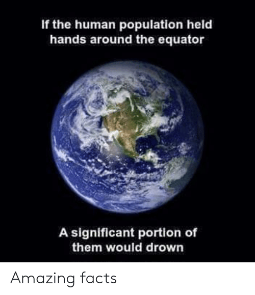 Facts, Amazing, and Human: If the human population held  hands around the equator  A significant portion of  them would drown Amazing facts